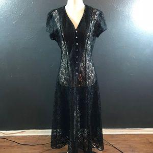 Vintage 90s black lace sheer dress corset back